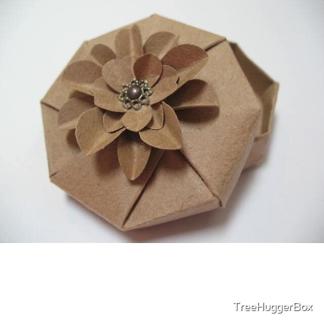Handcrafted Kraft Origami Octagon Box with 3D Kraft Flower by TreeHuggerBox