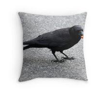 Crow With Treat Throw Pillow