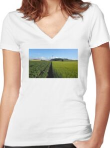 Half And Half Women's Fitted V-Neck T-Shirt
