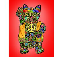 Peace Lucky Black Cat  Photographic Print
