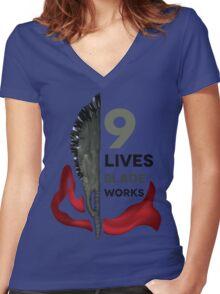 Nine Lives Blade Works Women's Fitted V-Neck T-Shirt