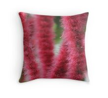 Red Hot Cattails Chenille Plant Throw Pillow