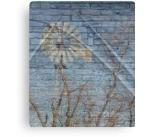 Railroad with windmill and texture Canvas Print
