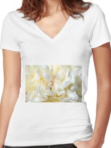 White peony (Paeonia) macro Women's Fitted V-Neck T-Shirt