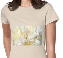White peony (Paeonia) macro Womens Fitted T-Shirt