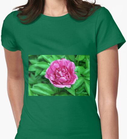 Dark Pink Peony  (Paeonia) Womens Fitted T-Shirt