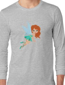 Red-haired fairy in a turquoise dress Long Sleeve T-Shirt