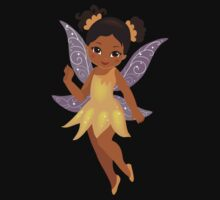 African American Beautiful  Fairy in a yellow dress Kids Tee