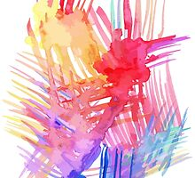 Watercolor abstract palm leaves by yopixart
