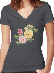 Pastel Roses Women's Fitted V-Neck T-Shirt