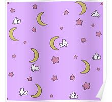 Sailor Moon inspired Bunny of the Moon Bedspread Blanket Print Poster