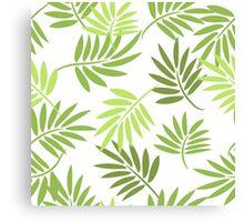 Green palm leaves pattern Canvas Print