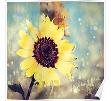 western country impressionism art watercolor sunflower Poster