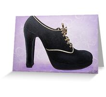 Black Suede Shoe Witrh Gold trim & Laces Greeting Card