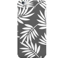 White leaves on a grey background pattern iPhone Case/Skin