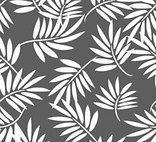 White leaves on a grey background pattern by yopixart