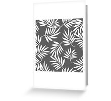 White leaves on a grey background pattern Greeting Card