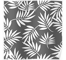 White leaves on a grey background pattern Poster
