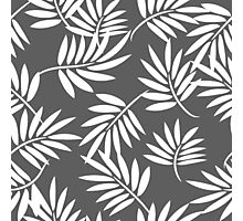 White leaves on a grey background pattern Photographic Print