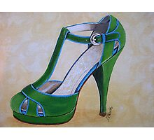 Green Suede Shoe Photographic Print