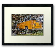 HDR Orange Volkswagen mini van Framed Print