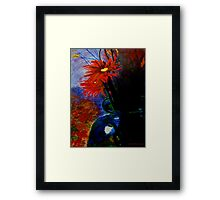 Red Flower /Blue case Framed Print