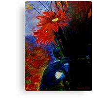 Red Flower /Blue case Canvas Print