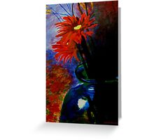 Red Flower /Blue case Greeting Card