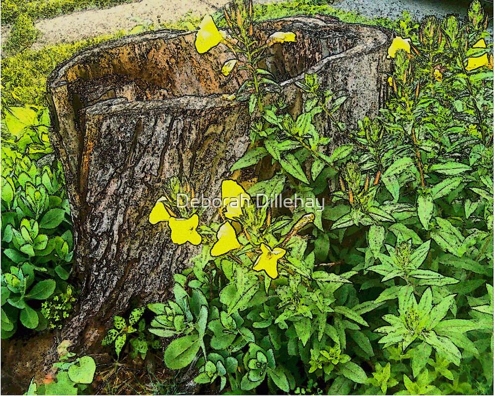 Hollow Stump and Primrose by Deborah Dillehay