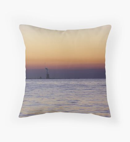 sunset over nuclear plant Throw Pillow