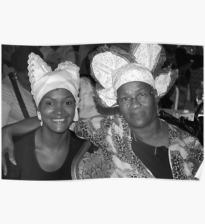 Two women with Curacao traditional head coverings - BW Poster