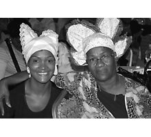 Two women with Curacao traditional head coverings - BW Photographic Print
