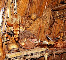 Native American Longhouse Interior by Hope Ledebur