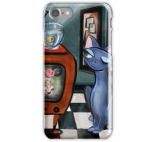 Fishing Show is in Re-Run, mid century modern, cat,decor, Alma Lee iPhone Case/Skin