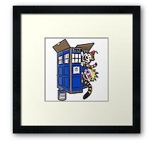 Calvin And Hobbes Tardis dr Who Funny Time Framed Print