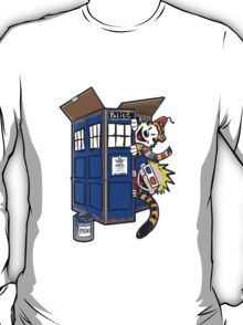 Calvin And Hobbes Tardis dr Who Funny Time T-Shirt