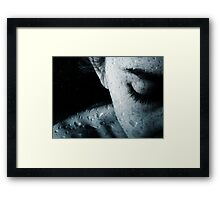 Woman and drops of rain Framed Print