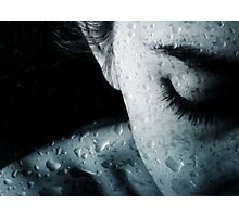 Woman and drops of rain Photographic Print