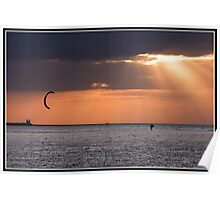 Sun rays over reculver castle Poster