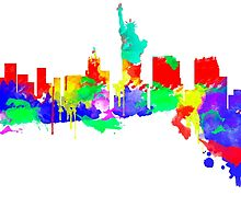New York City Skyline Water Paint  by jackelstub