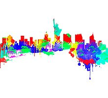 New York City Skyline Water Paint  Photographic Print