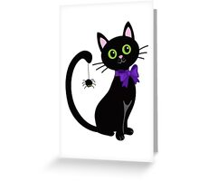 Black cute cat with  spider on his tail Greeting Card