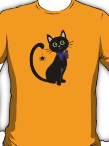 Black cute cat with  spider on his tail T-Shirt