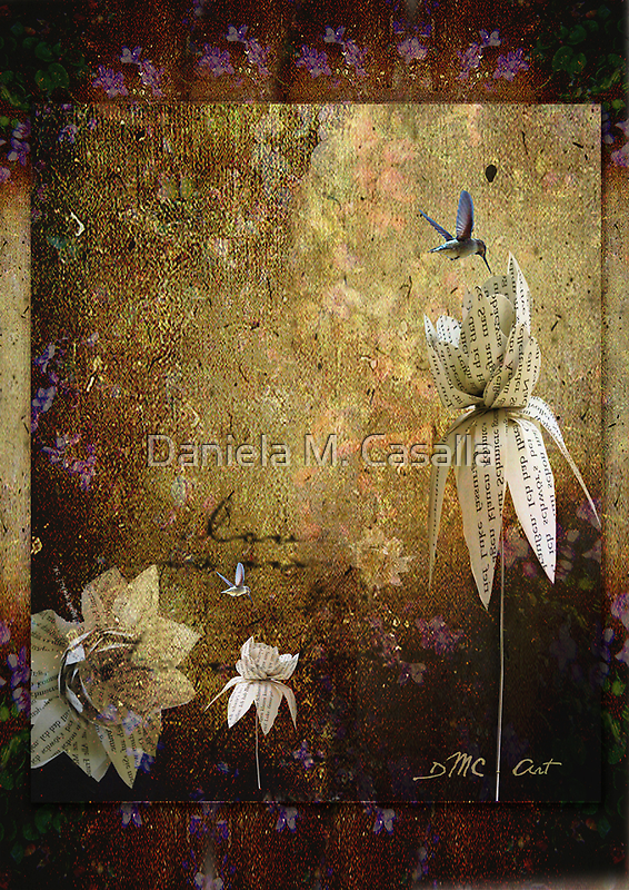 Paper Flowers and Hummingbirds by dmcart