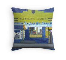 Pizza Lounge at Night Throw Pillow