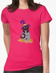 Black cat in the hat on the tombstone. Halloween. Womens Fitted T-Shirt
