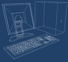 Blueprint of a computer, LCD monitor and keyboard in three dimensions by digerati