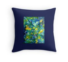 Floral Impressions in Blue Throw Pillow