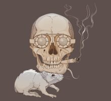 a skull with fuming cigar and a rat T-Shirt