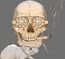 a skull with fuming cigar and a rat by Nadiiaz